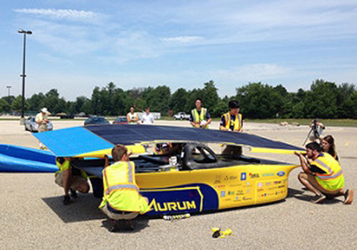 University of Michigan students are collaborating with IBM to use cognitive solar forecasting technology to predict solar radiation and cloud movement during the 2015 race. Image credit: IBM