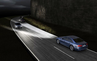 Adaptive matrix LED headlights, such as the Audi MatrixBeam system, mask oncoming cars, reducing glare.