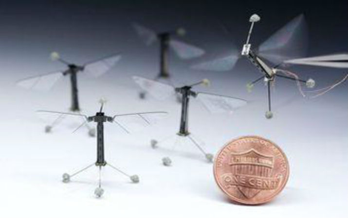 Inspired by the biology of a fly, with submillimeter-scale anatomy and two wafer-thin wings that flap almost invisibly 120 times per second, the Robobee takes its first controlled flight. (Image Credit: Kevin Ma and Pakpong Chirarattananon)
