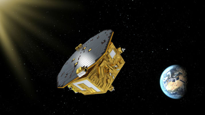 An artist's rendering of LISA Pathfinder on its way to Earth-sun L1. (Image CreditL ESA/C. Carreau)