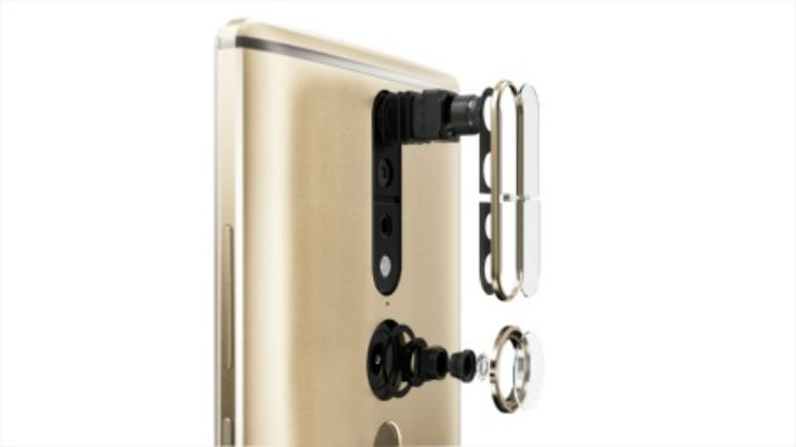 Schematic picture of Lenovo's new PHAB2 Pro smartphone. The 3-D camera module is seen above, with the fisheye lens below. (Image Credit: Lenovo)