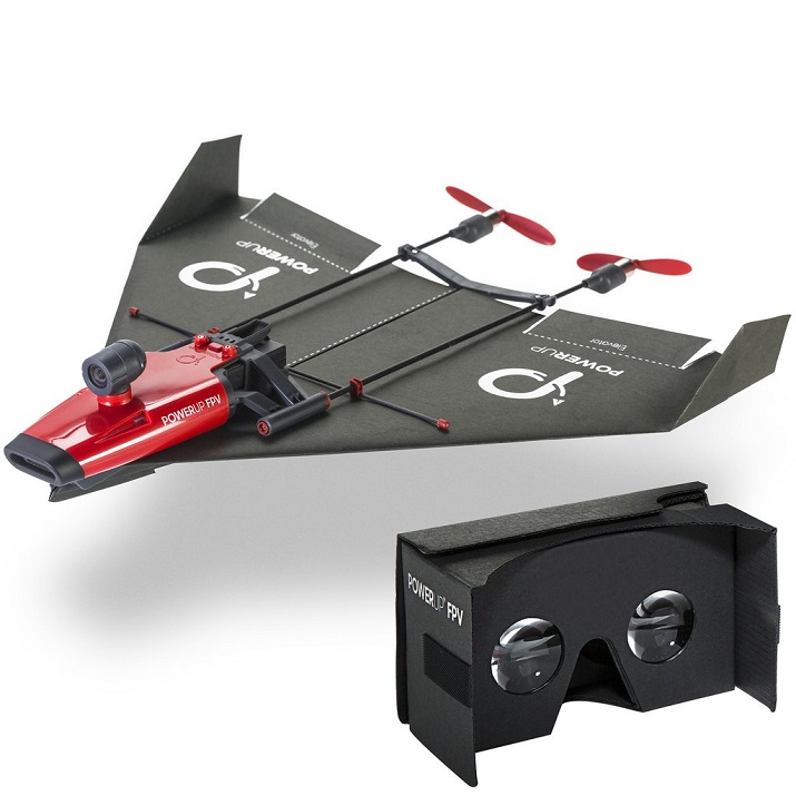 Take a piece of paper, make an airplane, attach it to the propeller frame and control it via a VR headset. Source: PowerUp Toys