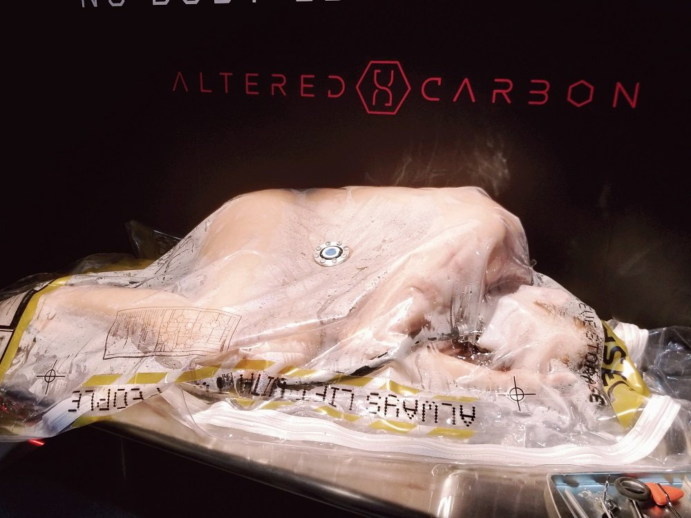 "Inside the promo booth for Netflix's ""Altered Carbon."" Source: Peter Brown/Electronics 360"