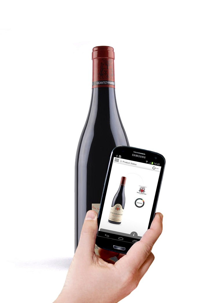A Geantet-Pansiot wine bottle that contains an NFC tag from NXP and can be secured via a mobile application from Selinko. Source: Selinko