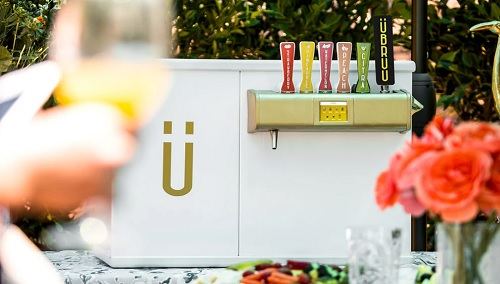 The draft beverage system can hold up to 12 standard size 12 ounce to 22 ounce bottles, eight standard champagne bottles or four 64 ounce. (Source: U-Bruu)