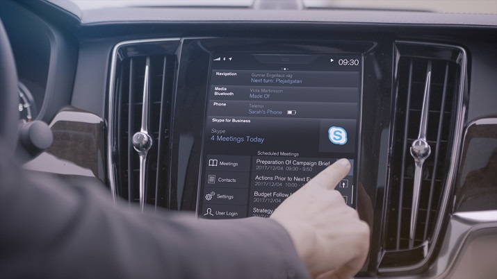 Skype for Business will be added to the 90 Series of Volvo cars giving drivers a new way to connect to meetings while on the go. Source: Volvo