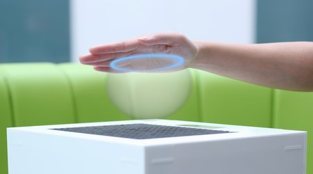 Truly effective tactile feedback has been the key ingredient missing from interactive surfaces. Ultrahaptics' system fills this void using a 2-D phase array of emitters built on the principle of constructively interfering intersections of ultrasonic waves. Image credit: Ultrahaptics