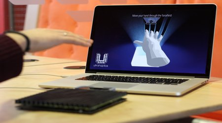 The 2-D array of ultrasound emitters creates airwaves that stimulate neuroreceptors in the skin, allowing users to feel sensations on their hands. Image credit: Ultrahaptics