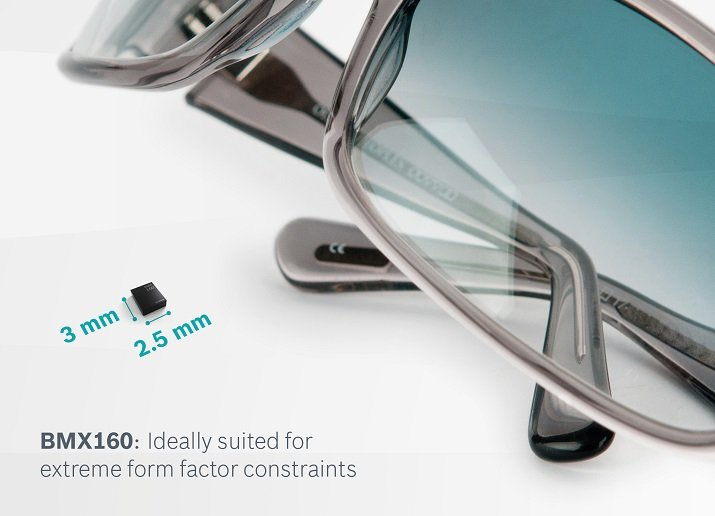 The BMX160 MEMS is housed in a 2.5 x 3.0 x 0.95 mm package suited for small wearable applications. Source: Bosch Sensortec