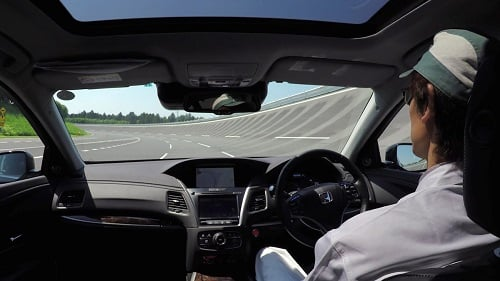 Honda test drove a vehicle on a mock freeway with LiDAR, radar and cameras. (Source: Honda)