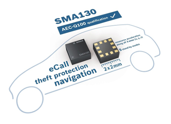 Bosch's SMA130 tri-axial acceleration sensor features five standby modes for automotive applications