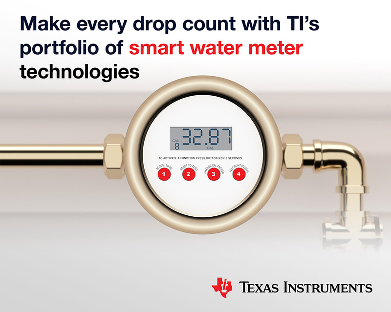 New ultrasonic MCUs and new reference designs make both electronic and mechanical water meters smarter. Source: Texas Instruments