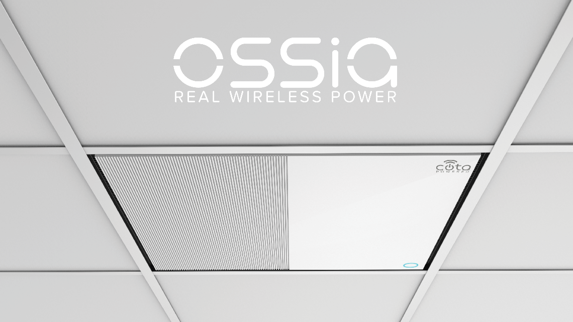 Transmitters can be hidden discreetly in the ceiling as Cota Tiles. Source: Ossia Inc.