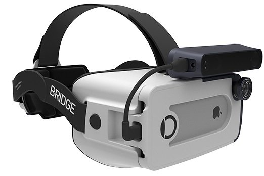 The Bridge headset uses an iPhone 6 or iPhone 7 to provide large-scale positional tracking and real-time obstacle avoidance in virtual worlds. Source: Occipital