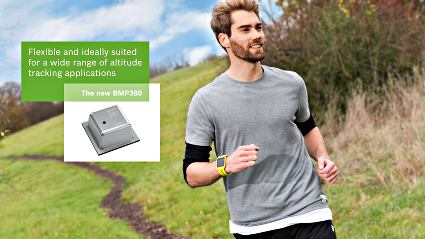 Bosch Sensortec's BMP380 targets altitude-tracking applications in fitness trackers and other wearable devices, smartphones, tablets and drones. Image source: Bosch Sensortec.