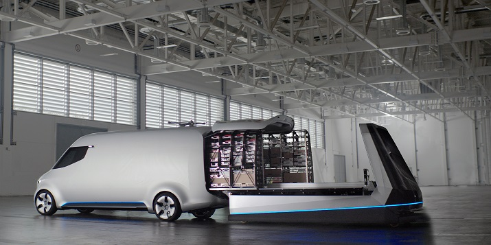 The Vision Van includes a digitized, fully automated loading compartment and drone delivery system that can be controlled through an integrated joystick. Source: Daimler