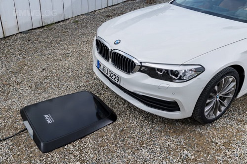 The prototype inductive wireless charging system. Source: BMW