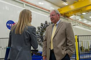 John Vickers talking to Dava Newman, the deputy NASA administrator, who toured the Composites Technology Center during a visit to Marshall. Photo Credit: NASA/MSFC Image Credit: Emmett Given