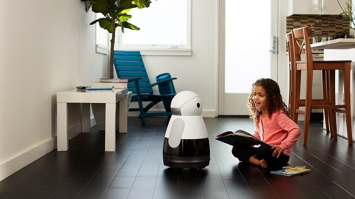 The Kuri robot responds to human touch, allows you to monitor your home and pets while you are away, and learns to move around the objects in your house. Source: Mayfield Robotics