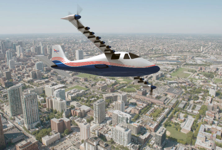 Artist's concept of NASA's X-57 Maxwell aircraft. NASA Aeronautics researchers will use the Maxwell to demonstrate that electric propulsion can make planes quieter, more efficient and more environmentally friendly. (Image Credit: NASA Langley/Advanced Concepts Lab, AMA, Inc.)