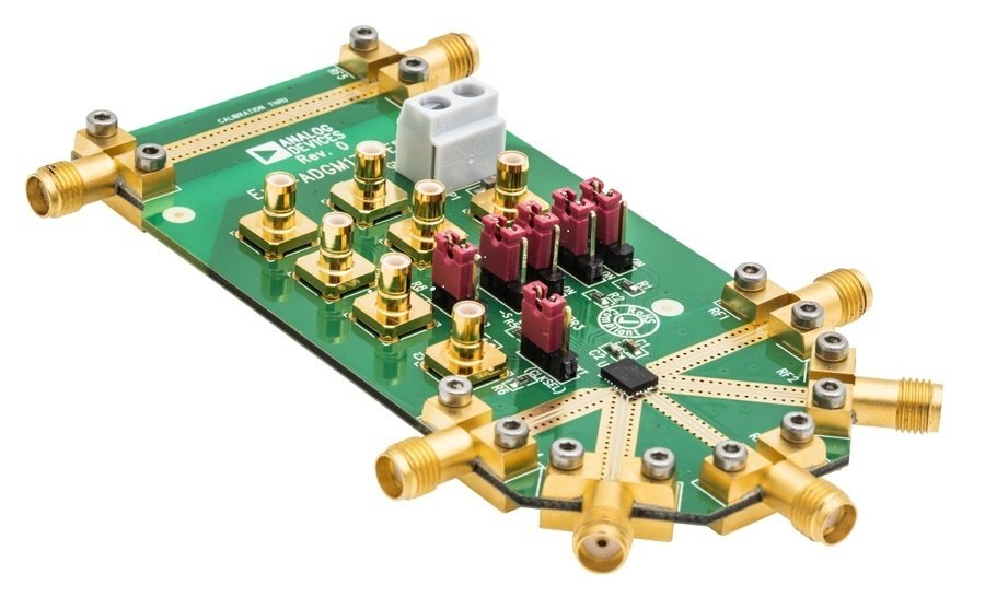 An evaluation board is available for each for the RF switch ICs, which requires a 3.3 V power supply, RF sources, and a network analyzer; shown is the board for the ADGM1304. (Source: Analog Devices, Inc.)