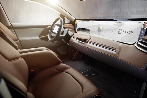 A 49 x 9.6 inch display provides as the focal point for Byton's concept SUV. Source: Byton