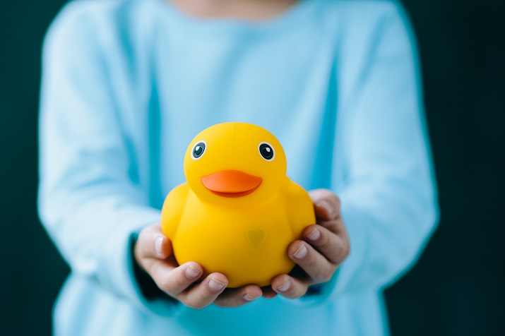 A Bluetooth-connected, app-enabled rubber duck for kids for baths and bedtime. Source: Edwin