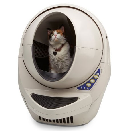 A self-cleaning litter box separates waste from clean litter automatically. Source: Litter Robot