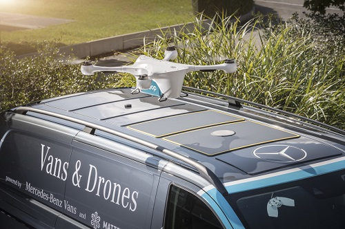 Drones will land on vans at four different stopping points in Zurich, then packages will be delivered by van driver. Source: Mercedes-Benz