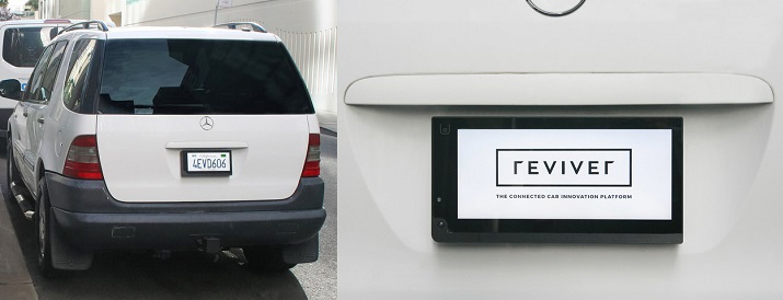 The rPlate can display custom messages or advertising on a digital display license plate. Source: Reviver
