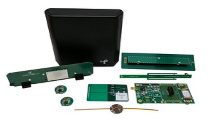 Powercast's Wireless Power Development Kit (P1110-EVAL-01) includes the FCC-approved Powercaster transmitter, battery-recharging boards in typical device shapes (wristbands, smart cards), a Powerharvester evaluation board and receiving antennas, BLE radio boards, and a first generation of a new PowerSpot transmitter. (Powercast)