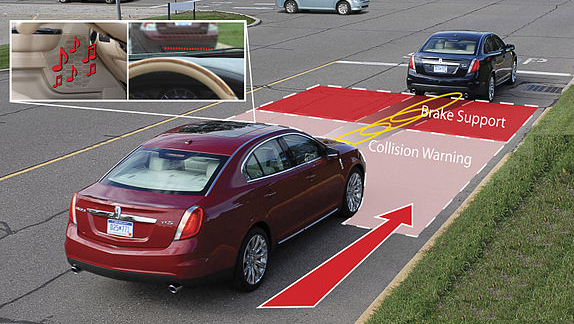 Collision warning system with brake support. Image credit: Ford Motor Company/CC BY 2.0, via Wikimedia Commons