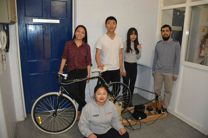 Student team develops compact bicycle-powered generator to watch Mission: Impossible. (Image Credit: University of Leicester)